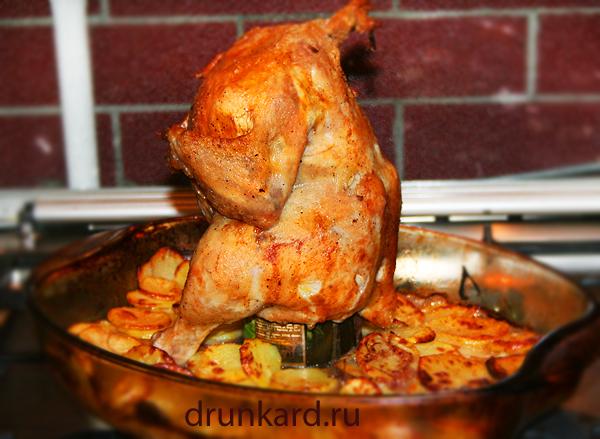Курица на банке с ароматными травами