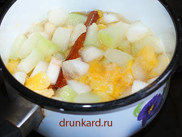 Варенье из кабачка, яблока и мандаринов