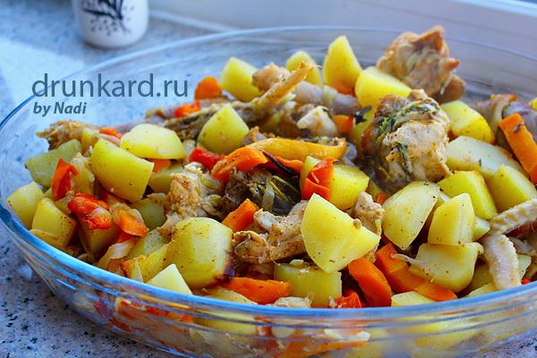 Курица запечённая с овощами в рукаве