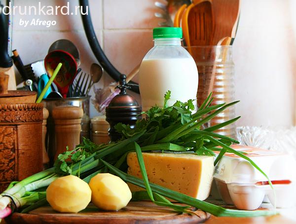 Омлет с картофелем, зеленью и сыром