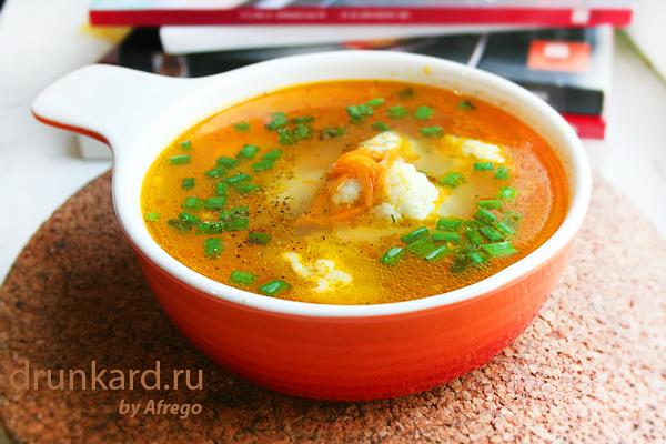 Морковный суп с сырными клёцками
