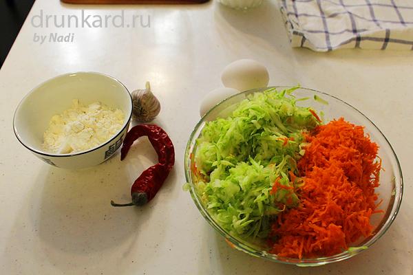Кабачковые оладьи с морковью