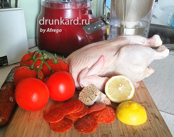 Курица с чоризо, чесноком и лимоном