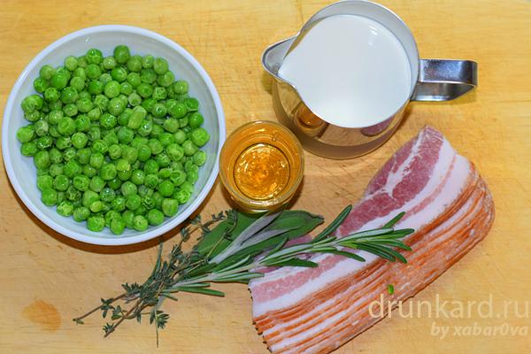 Потаж из зелёного горошка с шалфеем и беконом