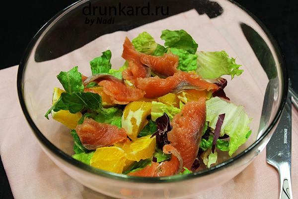 Салат с малосольной рыбой